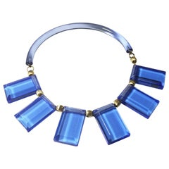 Judith Hendler Transparent Blue Acrylic Lucite Neck Ring Necklace with Charms