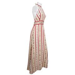 Boho Backless Maxi Halter Dress, 1970s
