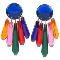 Oversized Dangling Chandelier Multicolor Drop Lucite Clip on Earrings