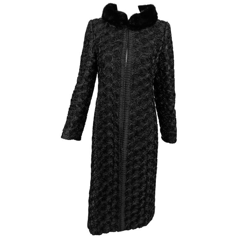 Valentino black silk faille ribbon rose applique coat with mink collar