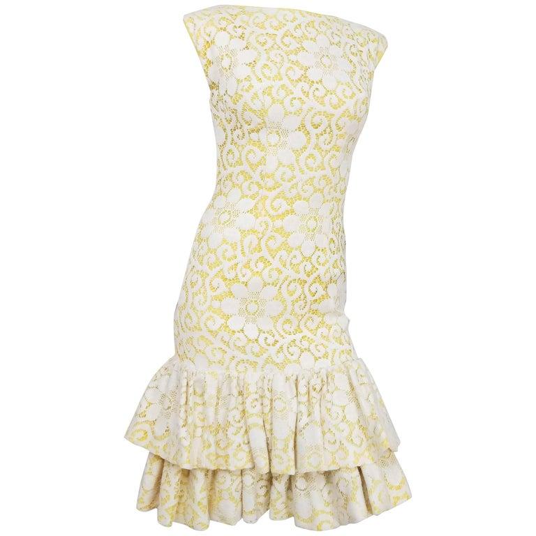 Lilli Diamond Yellow Drop-waist Ruffle Cocktail Dress with Lace Overlay, 1960s
