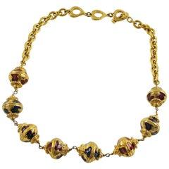 Yves Saint Laurent Paris Signed Necklace Baroque Enamel Beads