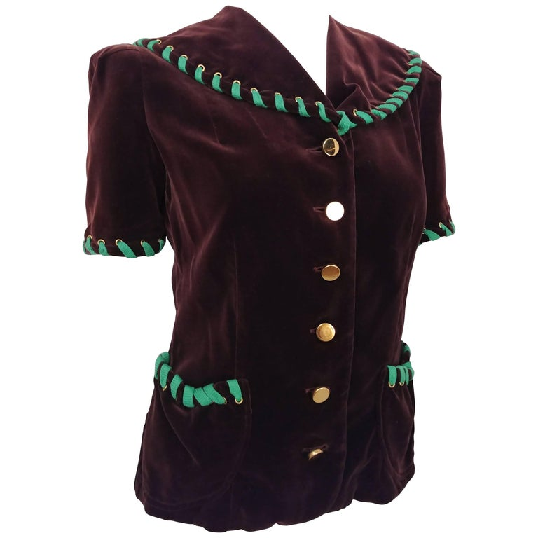 Brown Velvet Top with Green Lacing, 1940s