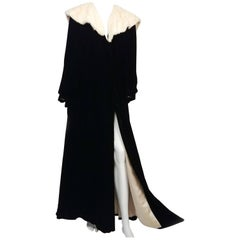 Black Velvet Opera Coat with Ermine Collar, 1930s