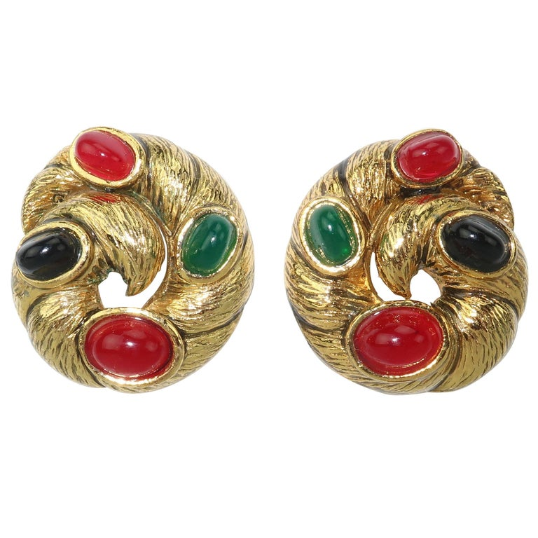 Vintage Gold Tone Cabochon Clip On Earrings For Sale