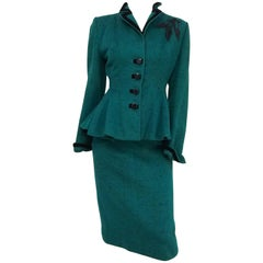 Lilli Ann Speckled Green Suit Set, 1940s