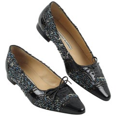 Manolo Blahnik Black Patent Leather and Tweed Fabric Flats Shoes Size 37.5 / 7.5