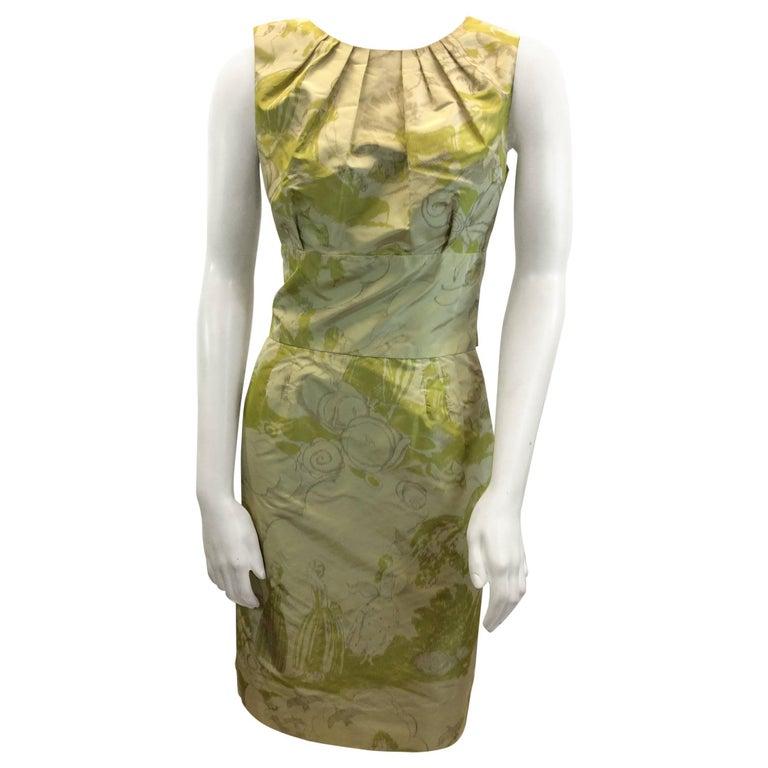 Bill Blass Green Print Dress