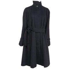 I. Magnin Black Cashmere Wool Coat, 1960s