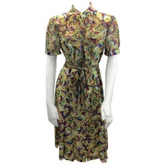 Carolina Herrera Silk Print Button Down Dress