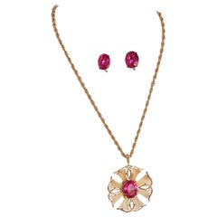 1970s Trifari Magenta and Gold Pendant and Earring Set