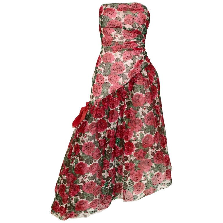 Vintage SCAASI Strapless Red Floral Print Strapless Cocktail Dress For Sale