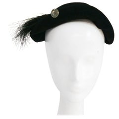 Black Wool Hat with Horsehair Embellishment, 1930s