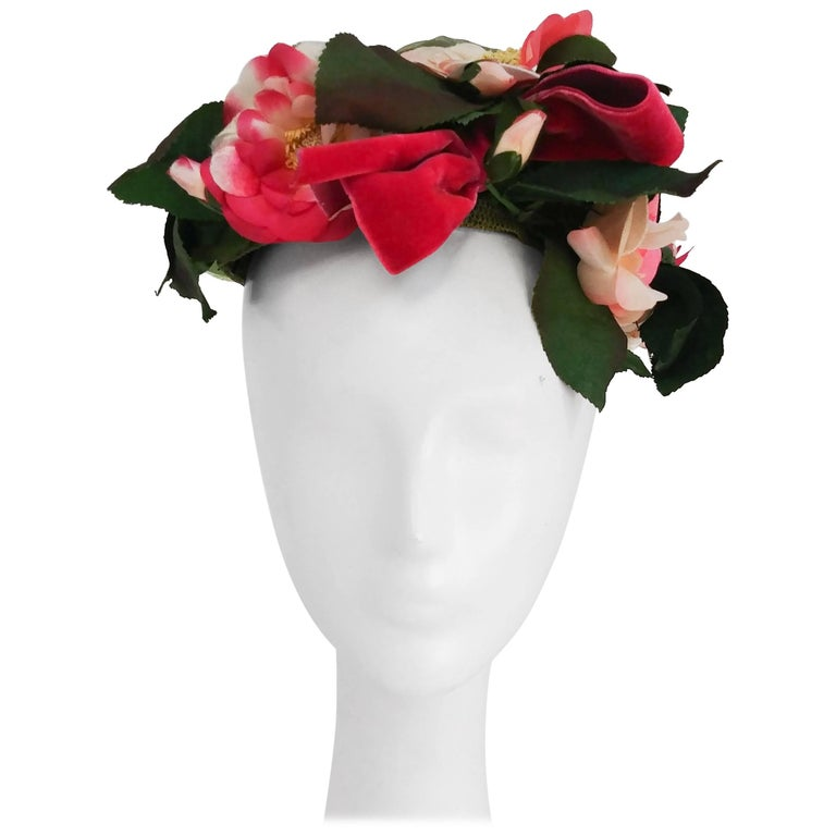 Sally Victor Flowers and Foliage Hat, 1950s