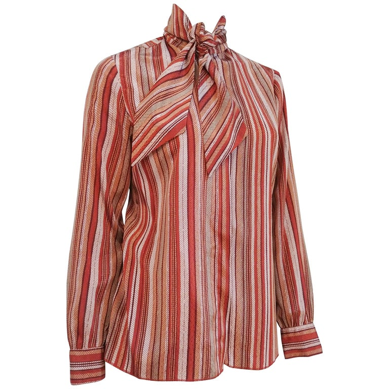 St. John Neck Tie Striped Blouse, 1970s  For Sale
