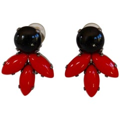 Philippe Ferrandis for Jacques Fath Black and Red Clip Earrings