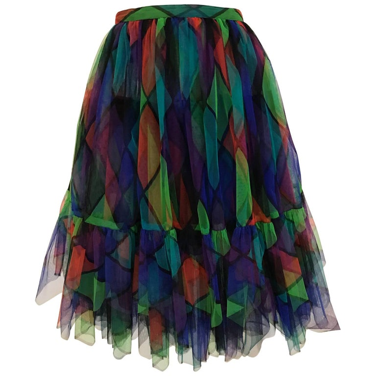 Vintage Saint Laurent Green and Red Harlequin Print Tulle Skirt For Sale