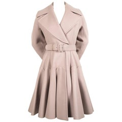 AZZEDINE ALAIA oyster wool coat with flared skirt