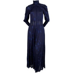 This 1970's JEAN MUIR blue jersey dress with stars and moons