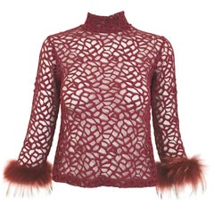 Vintage Jean Paul Gaultier Maroon Mesh Top with Ostrich Sleeves