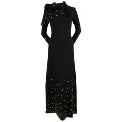 1970's GIVENCHY black wool dress with large gold studs