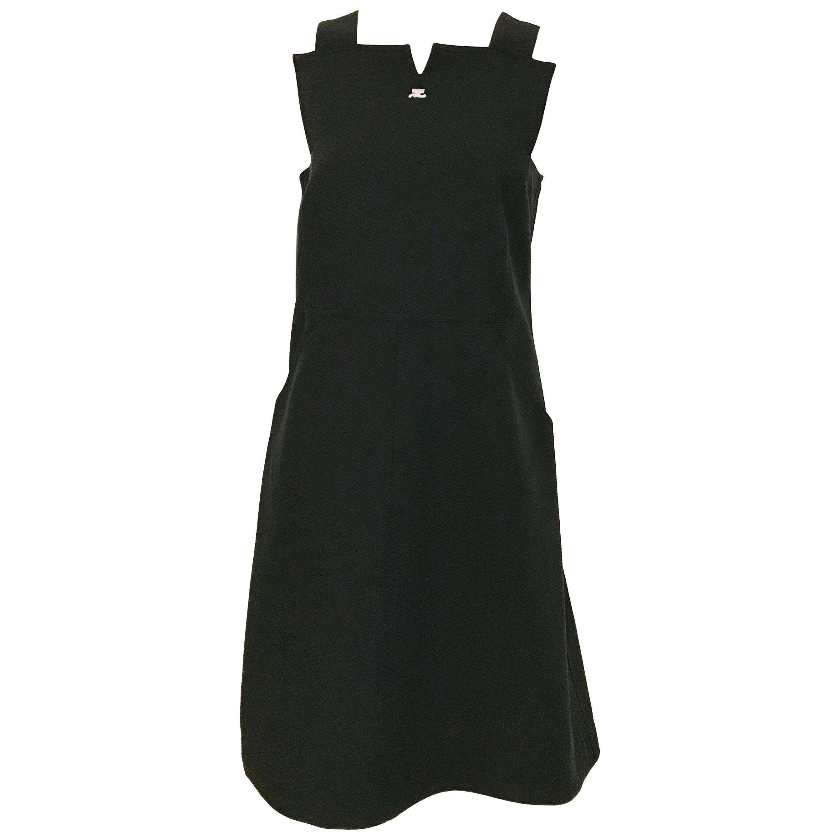 Courrege Black Cotton Sleeveless Dress
