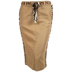 2002 TOM FORD for YVES SAINT LAURENT safari skirt with leopard trim