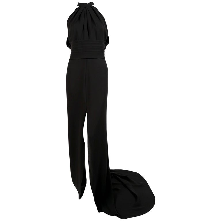 YVES SAINT LAURENT edition soir black silk evening gown with draped back For Sale