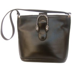 Gucci Rare Sterling Silver Tiger Clasp Ebony Leather Handbag circa 1970s