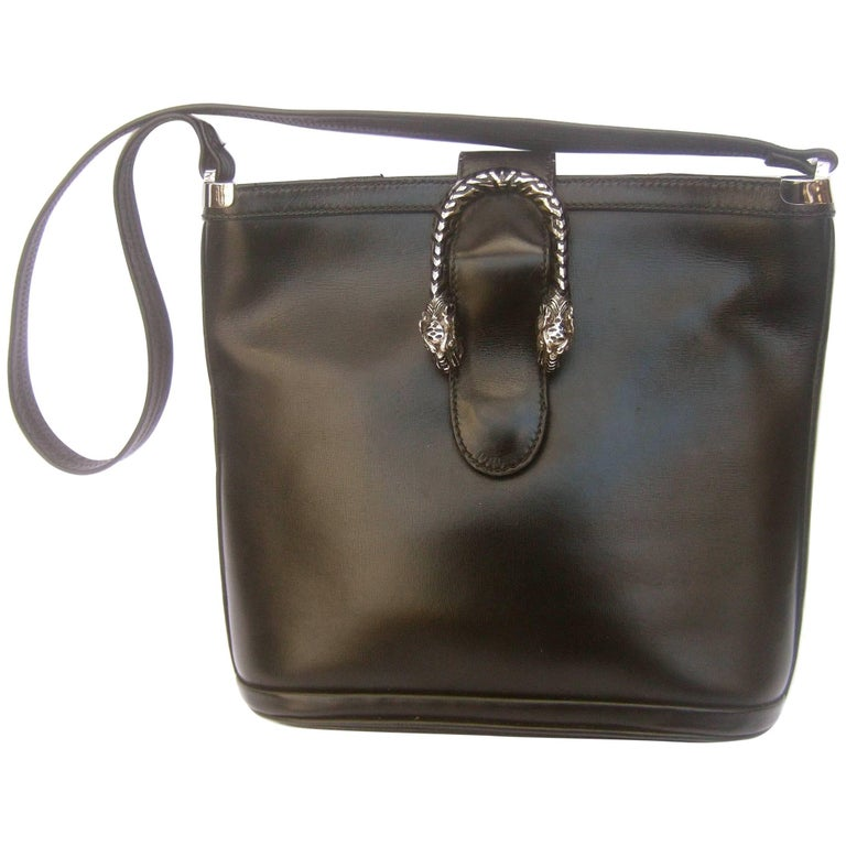 f3724b31b418 Gucci Rare Sterling Silver Tiger Clasp Ebony Leather Handbag circa 1970s  For Sale