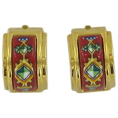 HERMES Clip-on Earrings in Gold Plated Metal Adorned with Enamel