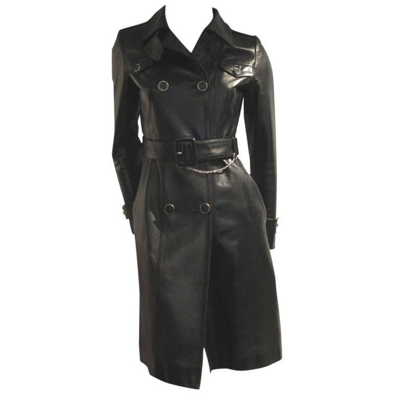 Gucci Black Leather Coat
