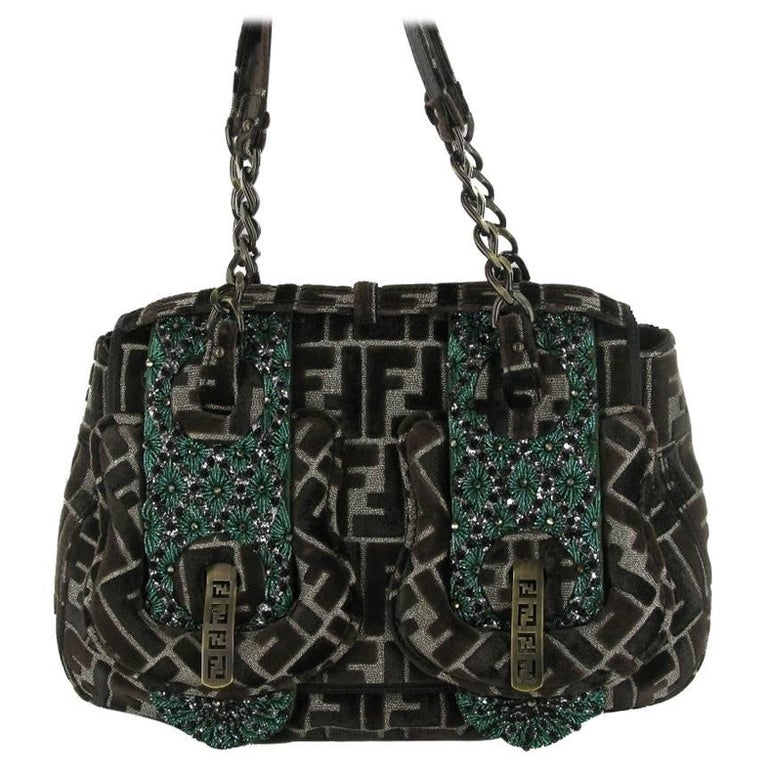 FENDI Limited Edition Flap Bag in Velvet Embroidered with Green and Black Pearls