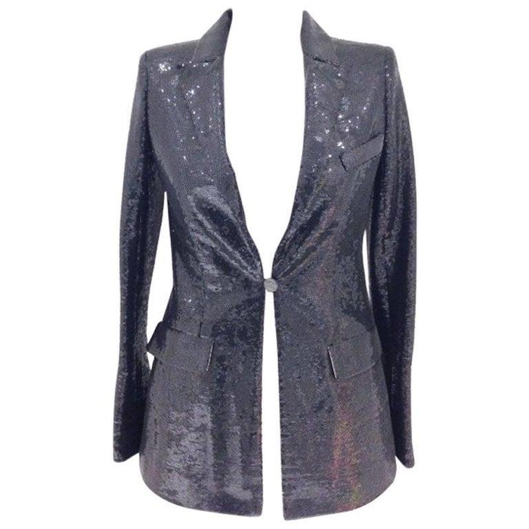 CHANEL Jacket in Black Sequin Size 40FR
