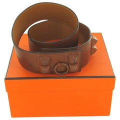 HERMES Shadow Belt in Brown Barénia Calfskin Size 85