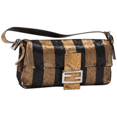 FENDI Baguette Bag with Bronze, Black and Gold Sequins