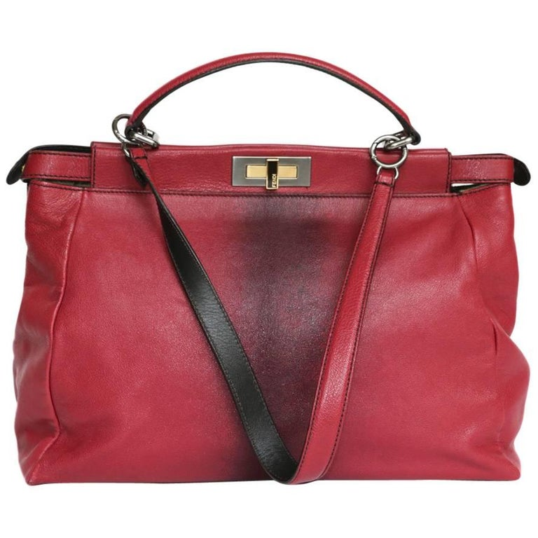 Fendi Raspberry Leather Peekaboo Bag
