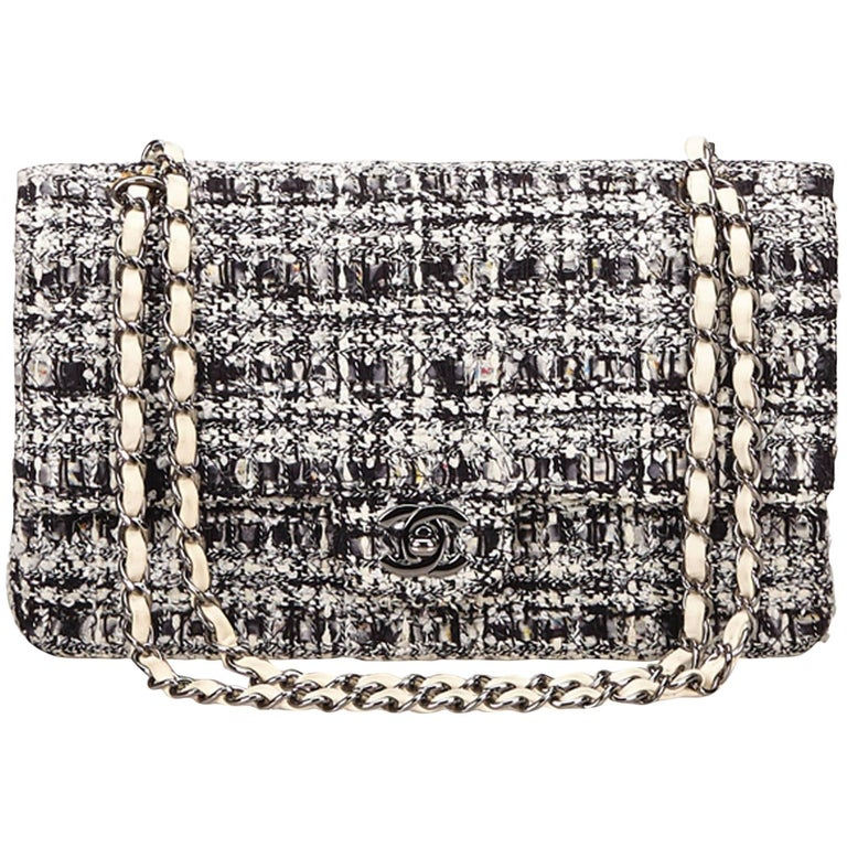 0bea8b132969 Chanel Classic Black White Grey Cotton Tweed Medium Double Flap Shoulder Bag  For Sale