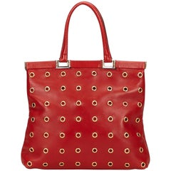Prada Red Calf Leather 18 Carat Gold-Toned Eyelet Handbag