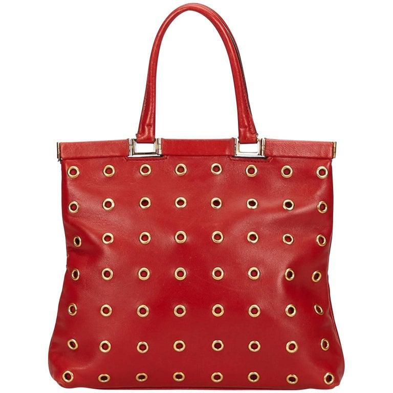 87a6f69658 Prada Red Calf Leather 18 Carat Gold-Toned Eyelet Handbag For Sale at  1stdibs