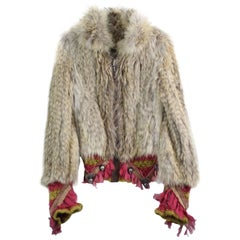 John Galliano Knitted  Coyote Fur Mohair and Silk Jacket. Size S