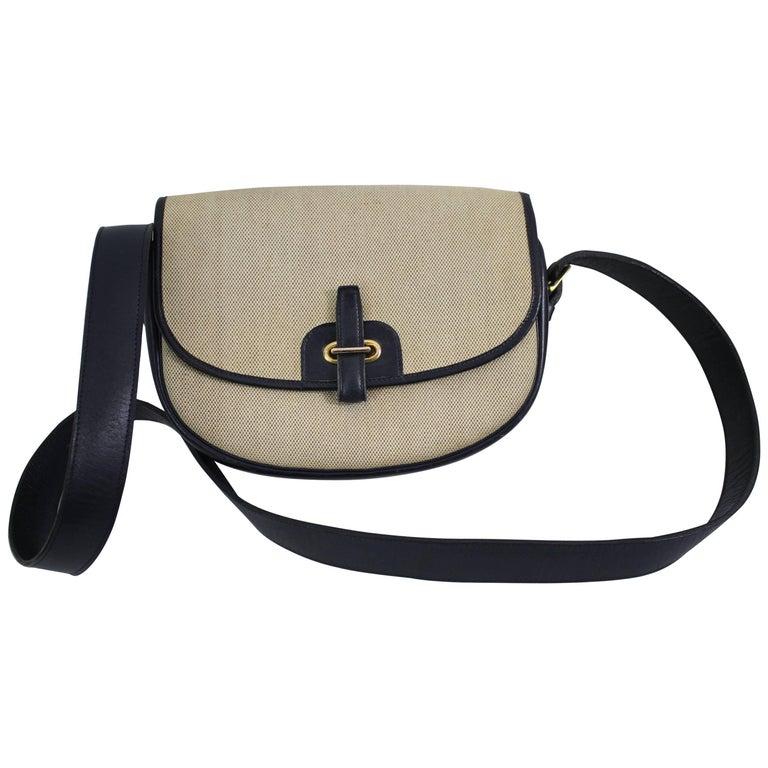Vintage 60's Hermes Balle de Goldf Beige Canvas and Navy Leather Bag