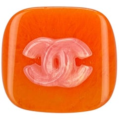 "Chanel Orange with Pink ""CC"" Resin Ring"