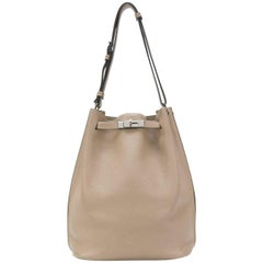 Hermes Etoupe Clemence Leather 29cm So Kelly Bag
