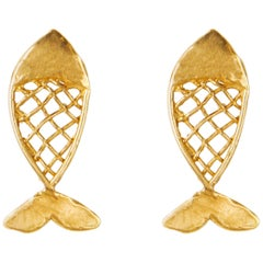 Giulia Barela Gold Plated Bronze Fish Earring