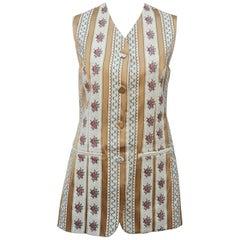 1980's Saks Fifth Avenue Floral Brocade Waistcoat Vest
