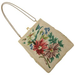 Vintage Floral Petit Point Handbag With Convertible Chain