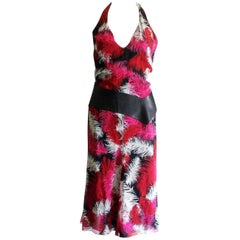 Gianni Versace Couture Feather Print Silk Leather Dress