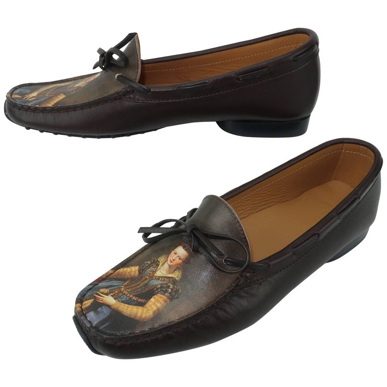 Icon shoes Art Printed Brown Leather Moccasin Loafers