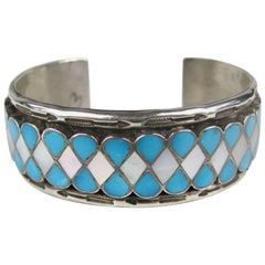 Zuni Teardrop Inlaid Sterling Silver Turquoise & Mother of pearl Cuff Bracelet